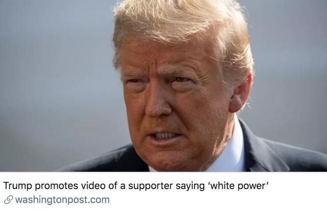 """特朗普转发""""白人力量""""推文,被指利用文化分歧保民调"""