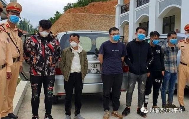 越南谅山省公安部门抓到的中国偷渡者。(网络图片)
